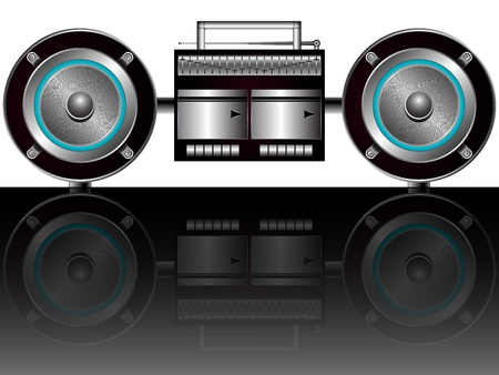 am radio: modern radiocassette player reflected, abstract vector art illustration; image contains transparency