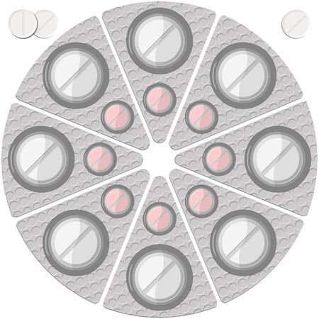 pills in a round blister pack and isolated against white background, abstract vector art illustration; image contains transparency Illustration