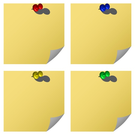 push pins and notes against white background, abstract vector art illustration