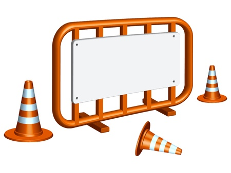 road work: restricted area fence and traffic cones against white background, abstract vector art illustration