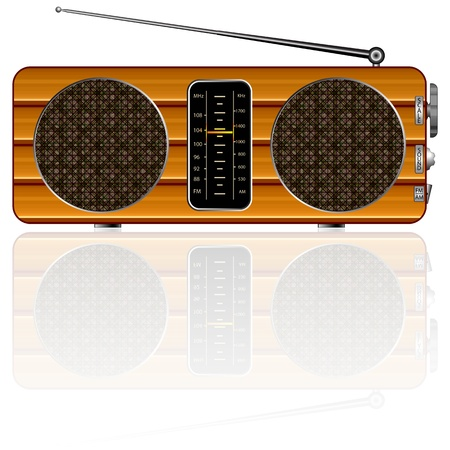 wooden retro radio reflected against white background, abstract vector art illustration; image contains transparency and opacity mask