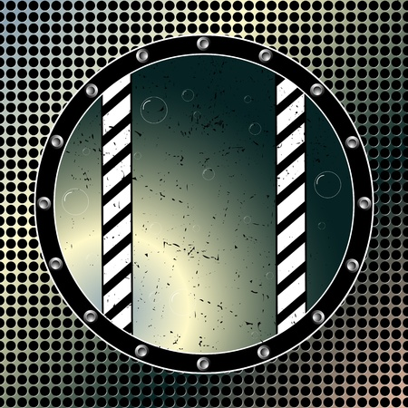 round bubbling window over metallic background, abstract vector art illustration