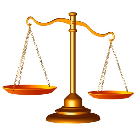 law scale: golden scale of justice against white background, abstract vector art illustration