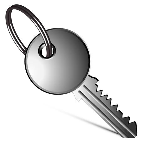 patente: llave de plata sobre fondo blanco, ilustraci�n vectorial arte abstracto Vectores