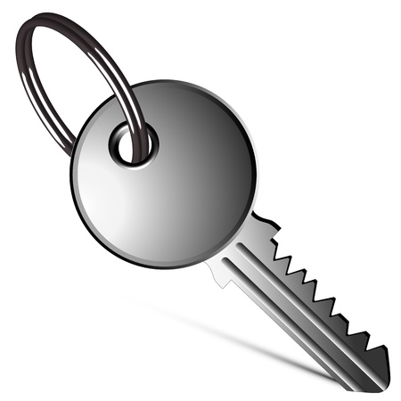 patent key: silver key against white background, abstract vector art illustration