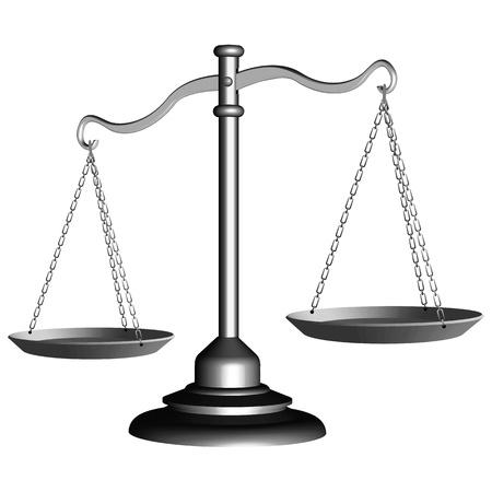 gerechtigheid: zilveren schaal van justitie tegen een witte achtergrond, abstracte vector kunst illustratie Stock Illustratie