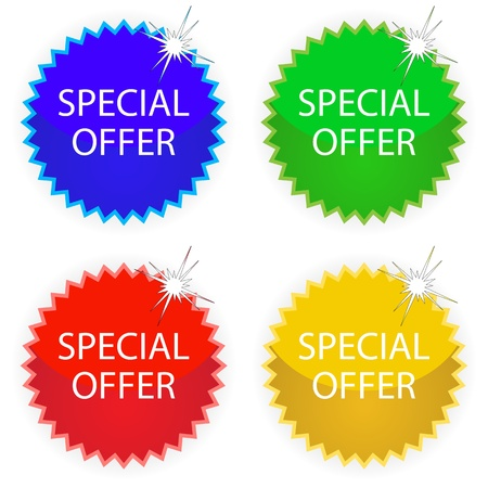 special offer tags against white background, abstract vector art illustration