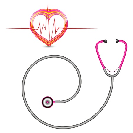 stethascope: stethoscope and graph against white background, abstract vector art illustration Illustration