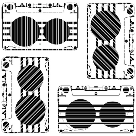 striped audio tapes against white background, abstract vector art illustration Иллюстрация