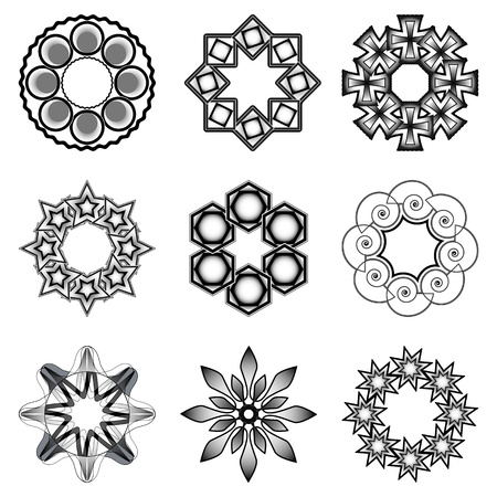 rosetta: tatoo elements over white background; abstract vector art illustration Illustration