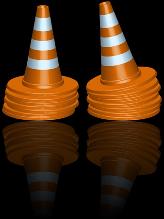 traffic cones piles reflected against black background, abstract vector art illustration Stock Vector - 13435129