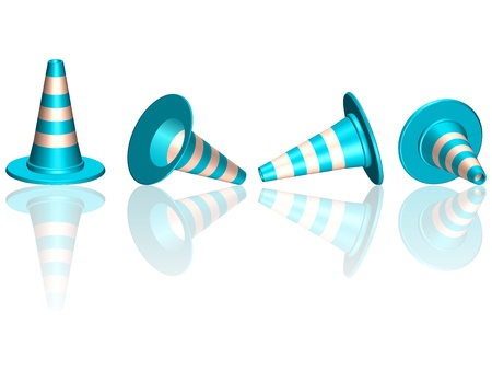 traffic cones with round base reflected against white background, abstract vector art illustration; image contains opacity mask Vectores