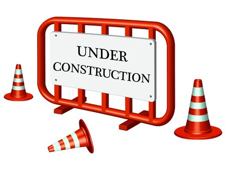 under construction fence and traffic cones against white background, abstract vector art illustration
