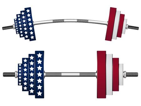 arm muskeln: us flag Gewichte vor wei�em Hintergrund, abstrakt Vektorillustrationen
