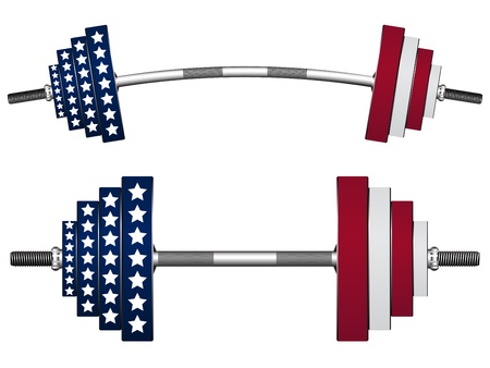 arm muscles: us flag weights against white background, abstract vector art illustration
