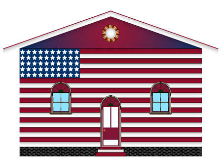 chipped: us flag painted house over white background, abstract vector art illustration; image contains transparency Illustration