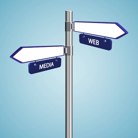 web and media signs against blue sky background, abstract vector art illustration
