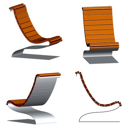 wooden 3d chairs with steel frames against white background, abstract vector art illustration