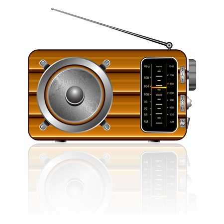 am radio: wooden retro radio reflected against white background, abstract vector art illustration; image contains transparency and opacity mask