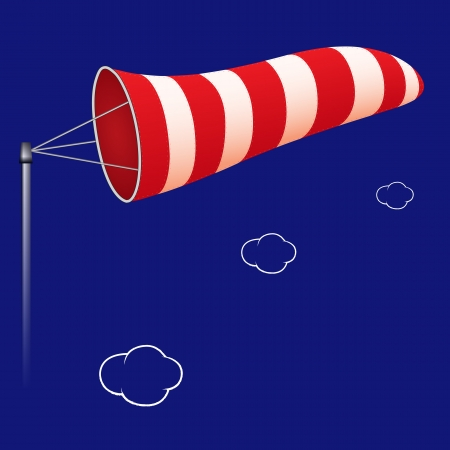 airport windsock against cloudy background, abstract art illustration, image contains transparency Vector