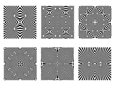 optical illusion: black and white patterns, op art seamless textures, art illustration
