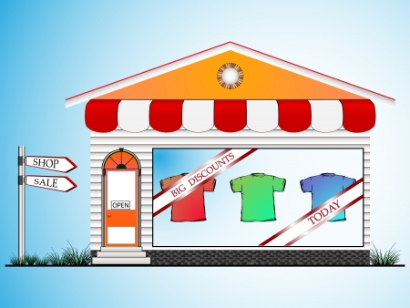 boutique display: clothes shop, abstract art illustration, image contains gradient mesh Illustration