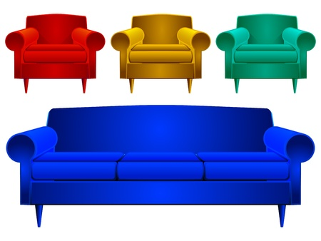 couch and armchairs against white background, abstract art illustration, image contains transparency
