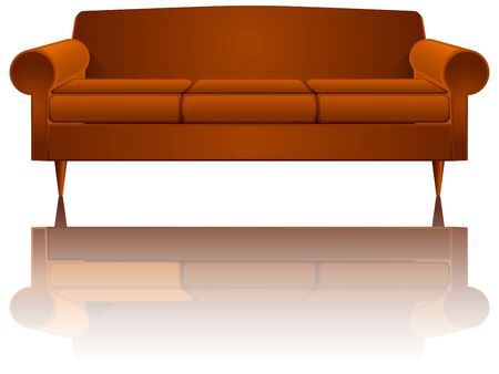couch reflected over white background, abstract art illustration, image contains transparency