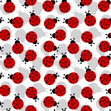 ladybugs seamless texture, abstract pattern,  art illustration Vettoriali