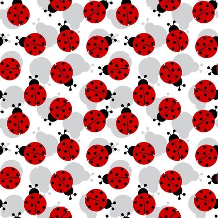 ladybugs seamless texture, abstract pattern,  art illustration Vectores
