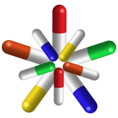 prescription drugs: pills composition against white background,  art illustration