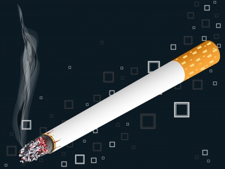 smoldering cigarette: smoking cigarette over squared background, abstract  art illustration, image contains transparency