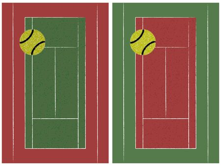 tennis court and ball set, abstract  art illustration Illustration