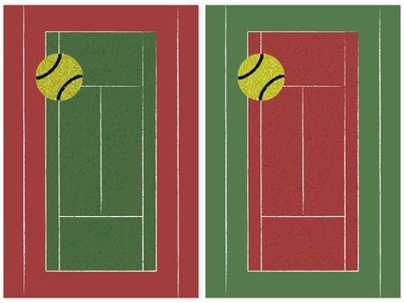 tennisbaan en ball set, abstracte kunst illustratie