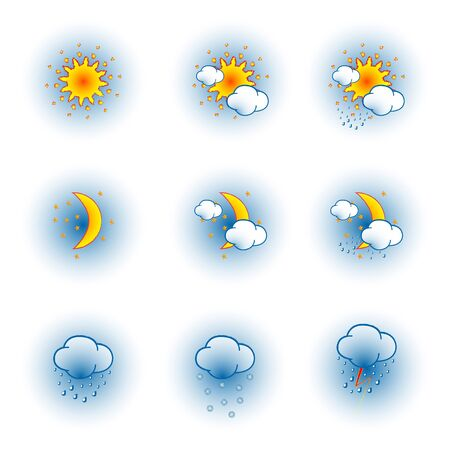 weather icons over white background, abstract  art illustration Ilustracja