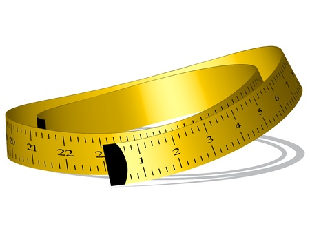 yellow measuring tape against white background, vector art illustration