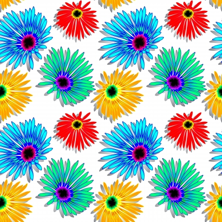 flowers shadowed texture, abstract seamless pattern; vector art illustration Vector