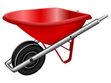 red wheel barrow against white background, abstract vector art illustration; image contains gradient mesh Ilustração