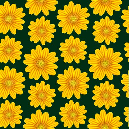 daisyflower: yellow chamomile pattern, abstract seamless texture; vector art illustration; image contains gradient mesh and transparency Illustration