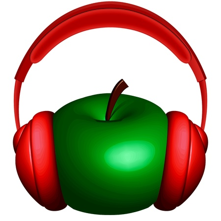 apple computers: apple and headphones icon against white background, abstract vector art illustration