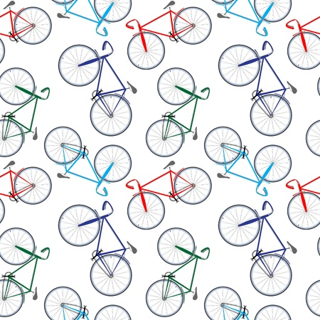 colour wheel: bicycles pattern, abstract seamless texture; vector art illustration Illustration