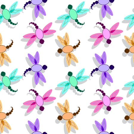 dragon fly pattern, abstract seamless texture; vector art illustration Vector