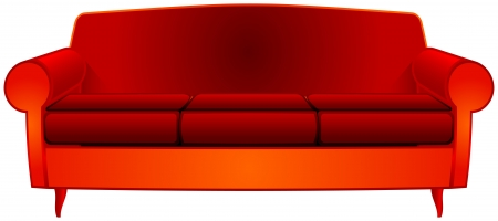 fancy red couch over white background, abstract vector art illustration; image contains transparency Illustration