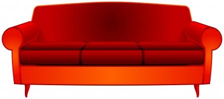 red couch: fantasia divano rosso su sfondo bianco, illustrazione di arte astratta vettoriale; immagine contiene trasparenza