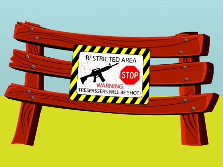 keepout: fence with sign, abstract vector art illustration