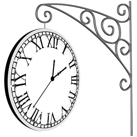 흰색 배경 위에 교수형 시계, 추상적 인 벡터 아트 그림