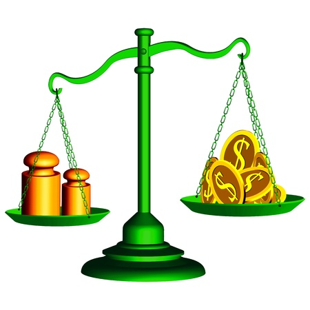wright: green scale of justice with money and weights over white background, abstract vector art illustration Illustration