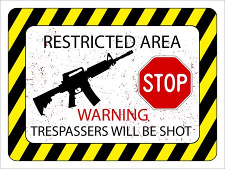 warning notice: no trespassers allowed sign against white background, abstract vector art illustration
