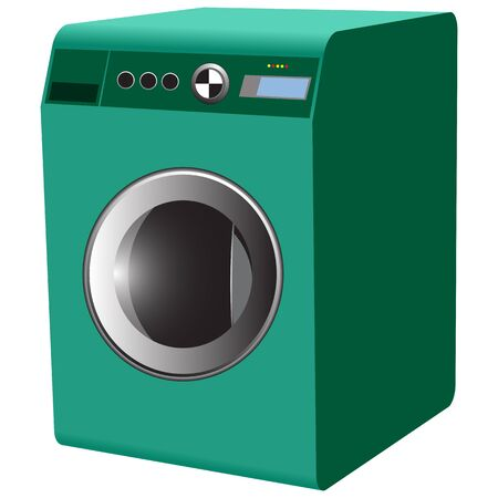 washing machine against white background, abstract vector art illustration