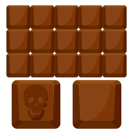 realism: chocolate skull squares against white background, abstract art illustration